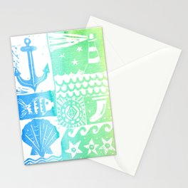 Surf Vibes - Rainbow beach and nautical linoprint with anchor and lighthouse Stationery Cards