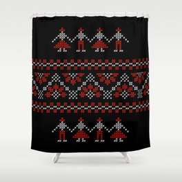 Traditional Romanian white & red cross-stitch people on black Shower Curtain