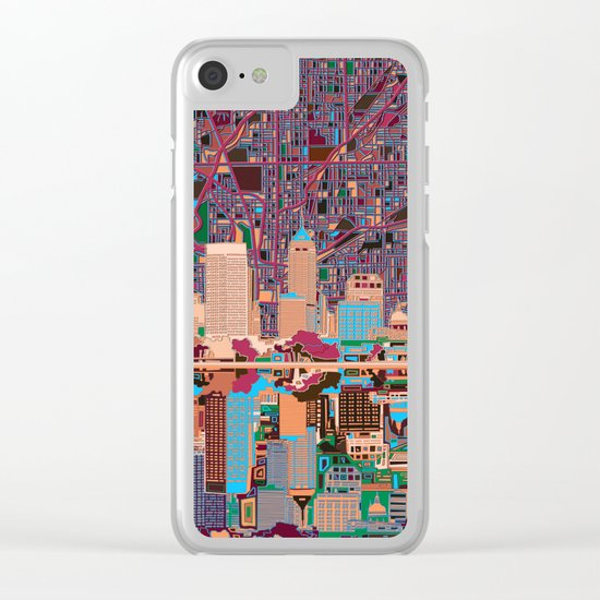 indianapolis city skyline purple Clear iPhone Case
