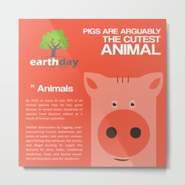 Save Cute Pigs Metal Print