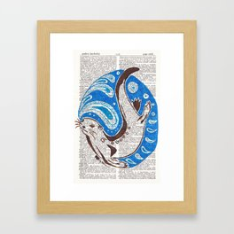 A Ring of Bright Water  (an otter on dictionary page) Framed Art Print