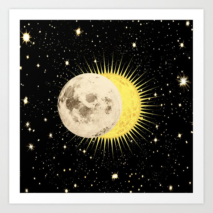 'Imminent Eclipse' Sun Moon & Stars Art Print