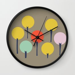 Color Pop Trees Wall Clock