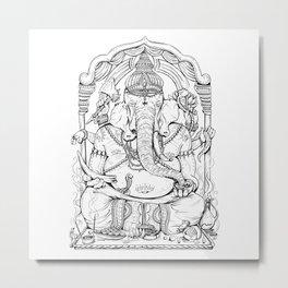Ganesha Lineart Metal Print