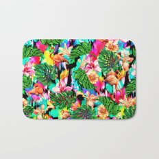 Flamingo and Tropical Pattern Bath Mat