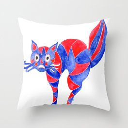 Watercolor Art | Scaredy Cat Throw Pillow