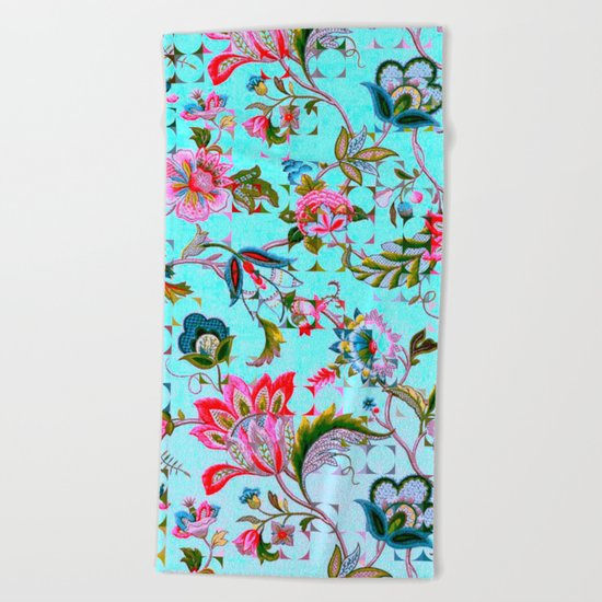ancient floral Beach Towel