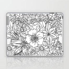 Elegant Hand drawn floral doodles design Laptop & iPad Skin