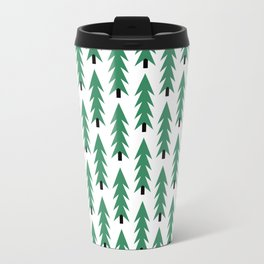 Christmas Tree forest holiday minimal decor festive winter trees green and white Travel Mug