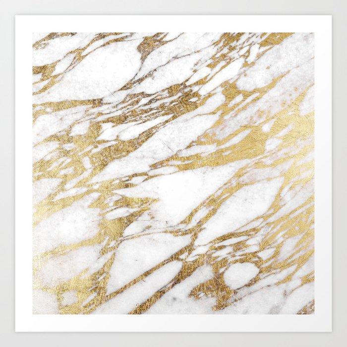 Chic Elegant White and Gold Marble Pattern Kunstdrucke