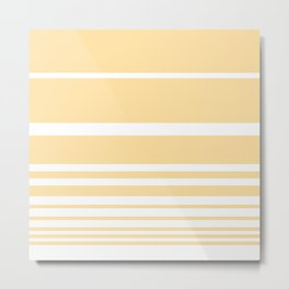 Scandi Pastel Lemon Stripes Metal Print