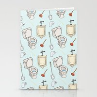 bathroom Stationery Cards featuring Bathroom Pattern by Josh LaFayette