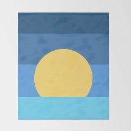Sunset Over Waves | Blue Throw Blanket