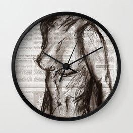 Rain Shower (Regenschauer) Charcoal Newspaper Figure Drawing Wall Clock