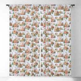 Gingerbread village pattern Blackout Curtain