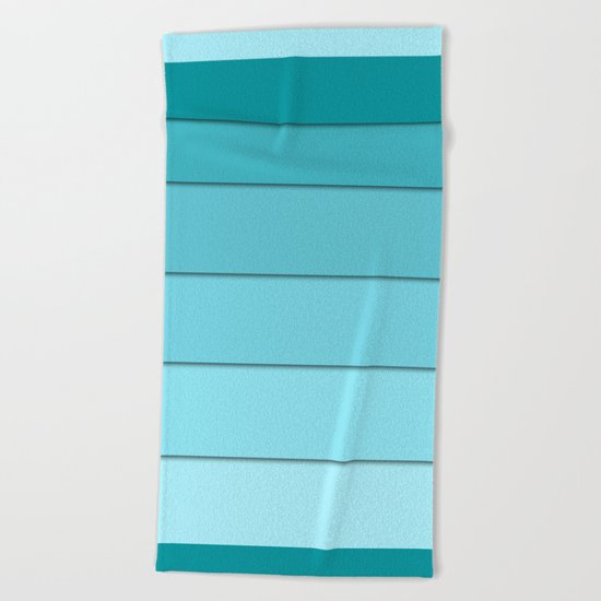 Colorful geometric striped pattern in shades of blue . Beach Towel