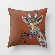 Mahagony Giraffe Throw Pillow