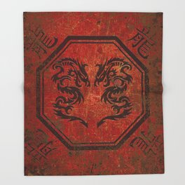 Distressed Dueling Dragons in Octagon Frame With Chinese Dragon Characters Throw Blanket
