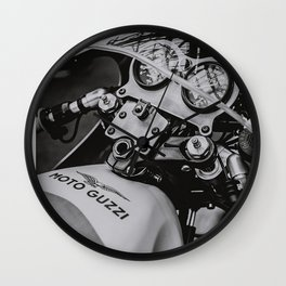 Guzzi at bike shed 2016 Wall Clock