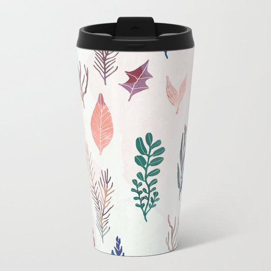 Mix of plants and watercolor leaves Metal Travel Mug