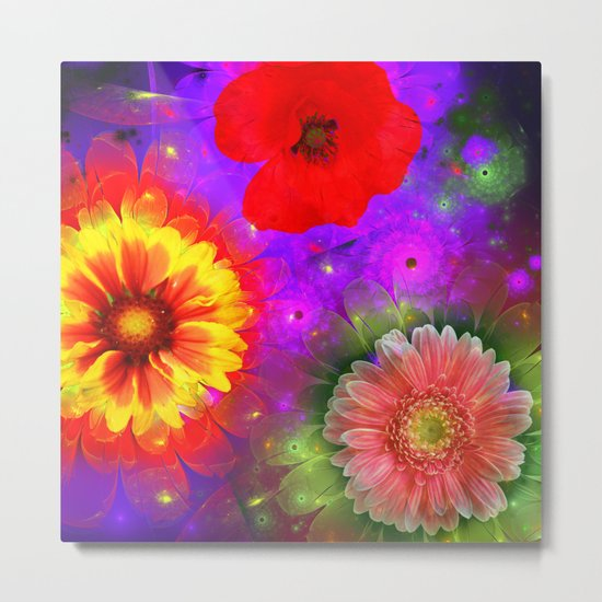 Summer flowers in a colourful fantasy garden Metal Print
