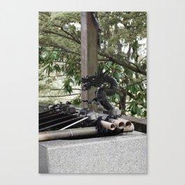 Japanese dragon water spout Canvas Print
