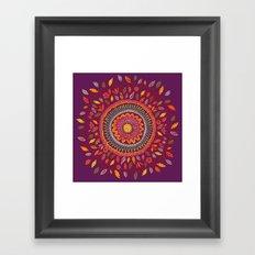 Leafy Fall Mandala Framed Art Print