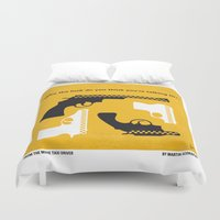 taxi driver Duvet Covers featuring No087 My Taxi Driver minimal movie poster by Chungkong