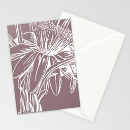 Modern Floral Line Art Drawing in Dusty Plum Stationery Cards