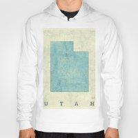 utah Hoodies featuring Utah State Map Blue Vintage by City Art Posters