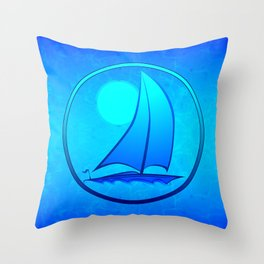 Ocean Blue Sailboat Throw Pillow