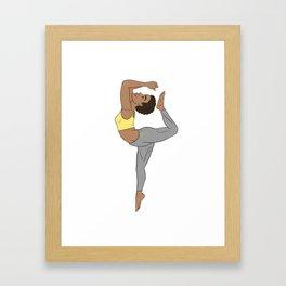 Calm Yellow Kemetic Yoga Pose Framed Art Print