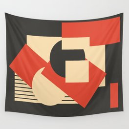 Geometrical abstract art deco mash-up scarlet beige Wall Tapestry