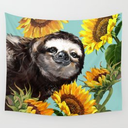 Sloth with Sunflowers Wall Tapestry