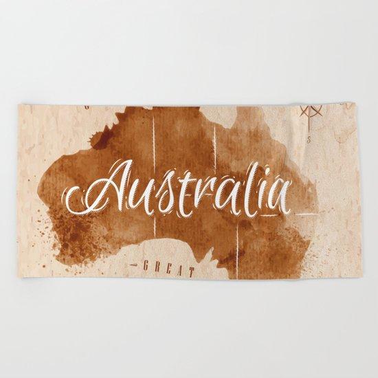 Vintage Australia Map Beach Towel
