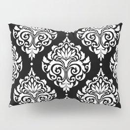 Black Monochrome Damask Pattern Pillow Sham