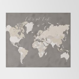 Let's get lost world map in earth tones Throw Blanket
