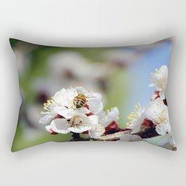 Bee Visiting an Apricot Blossom 2 Rectangular Pillow