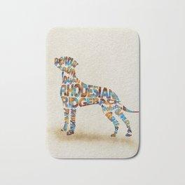 Rhodesian Ridgeback Dog Typography Art / Watercolor Painting Bath Mat