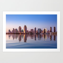 Gorgeous San Diego skyline reflected in water Art Print