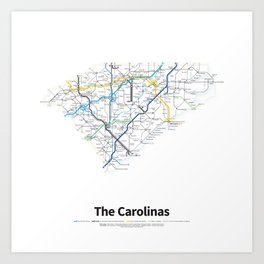 Highways of the USA – The Carolinas Art Print