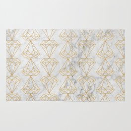 Golden Diamonds on Marble Background Rug