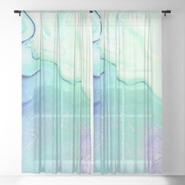 Marble azure texture Sheer Curtain