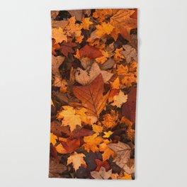 Autumn Fall Leaves Beach Towel