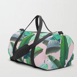 Banana Leaves on Pink Duffle Bag