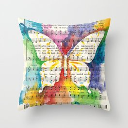 O Happy Day  Butterfly Watercolor on Sheet Music Throw Pillow