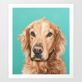 Handsome Golden Retriever Painting, Golden Retriever Portrait, Stately Golden Retriever Dog Art Art Print