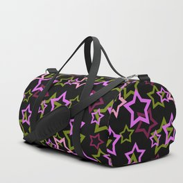 Star. Brightly colored on a black background . Duffle Bag