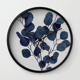 Eucalyptus Leaf Stem Botanical Navy Indigo Blue Watercolor Nature Farmhouse Painting Art Print Wall Decor Wall Clock