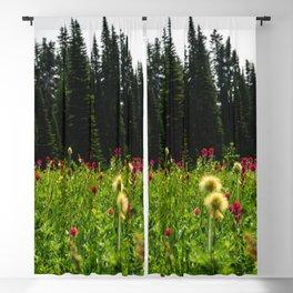 Mount Rainier Wildflower Adventure II - Pacific Northwest Mountain Forest Wanderlust Blackout Curtain